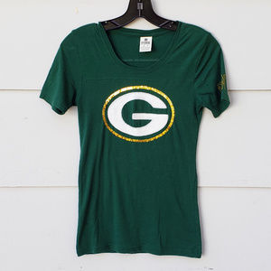 PINK Green Bay Packers Sequin T-Shirt - XS